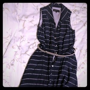 Fun Jones New York Navy Blue Strip Dress Sz 4